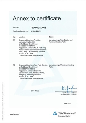 Certificate ISO9001:2015 Annex
